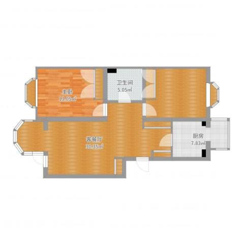 第六大道1室2厅1卫1厨92.00㎡户型图