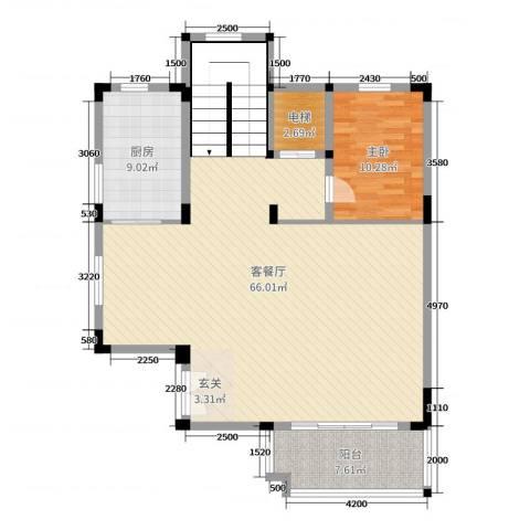 尚岭・清华苑1室2厅0卫1厨108.00㎡户型图