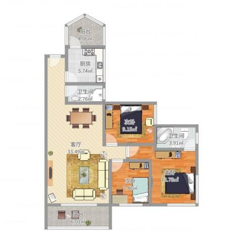 富力阳光美居3室1厅2卫1厨107.00㎡户型图