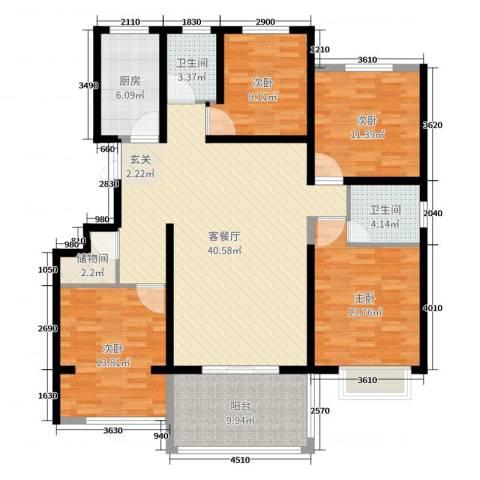 金色家园4室2厅2卫1厨143.00㎡户型图