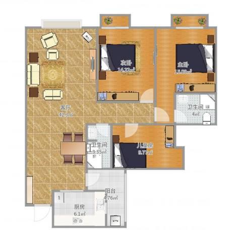 南延新苑3室1厅2卫1厨127.00㎡户型图