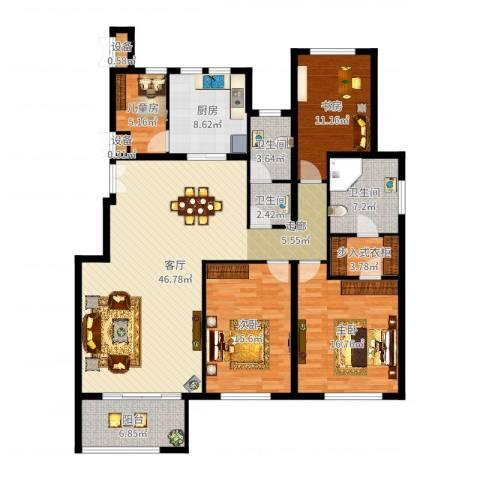 金地紫云庭4室1厅3卫1厨161.00㎡户型图