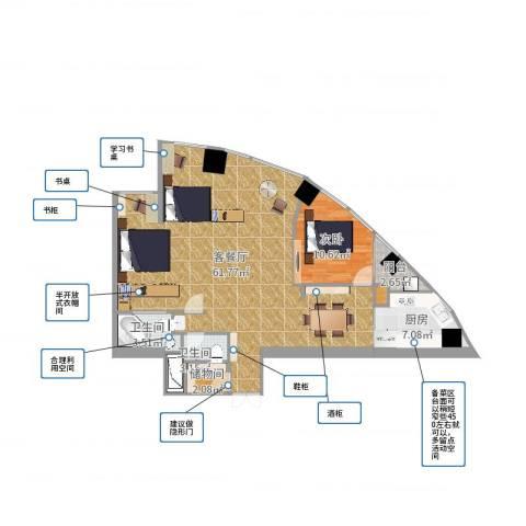 金桥大厦1室2厅3卫1厨114.00㎡户型图