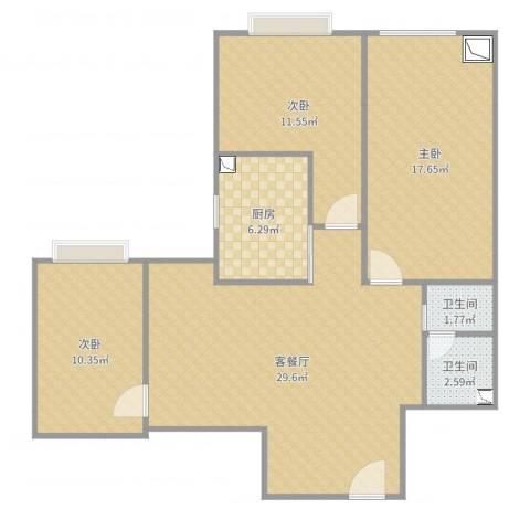 三室两厅3室2厅2卫1厨100.00㎡户型图
