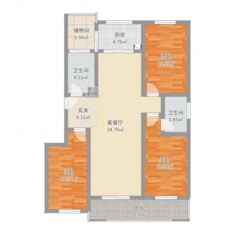 沧州孔雀花园小区(原王官屯旧城改造)3室2厅2卫1厨121.00㎡户型图