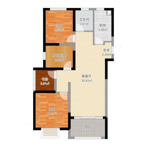 金地湖城艺境3室2厅1卫1厨96.00㎡户型图