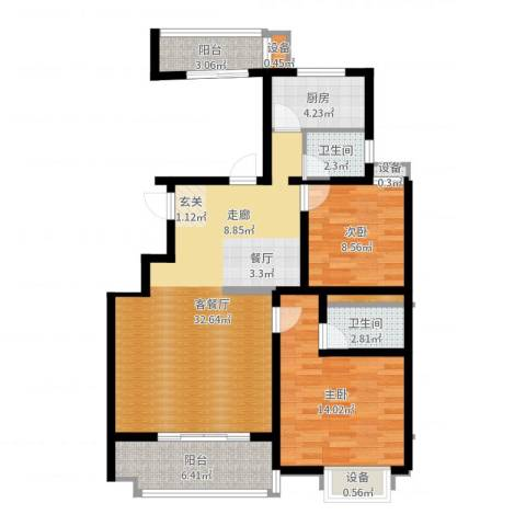 江尚天地2室2厅2卫1厨95.00㎡户型图