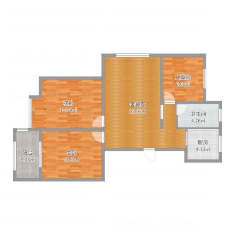 天泰茗仕豪庭A2户型3室2厅1卫1厨102.00㎡户型图