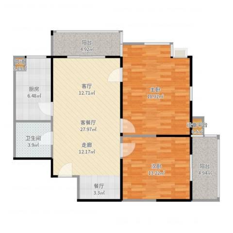 庆阳观邸2室2厅1卫1厨101.00㎡户型图