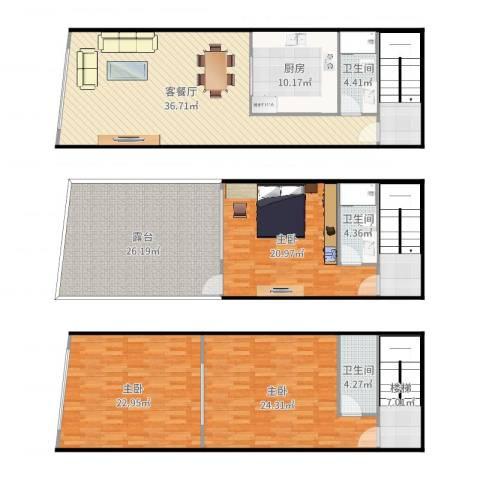 府前路15号3室2厅3卫1厨219.00㎡户型图