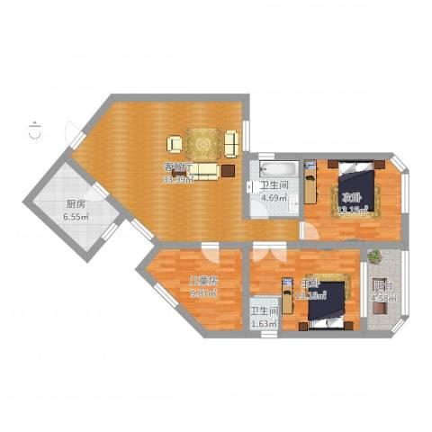 百合花苑3室2厅2卫1厨110.00㎡户型图