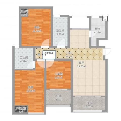 鸿益千秋3室1厅2卫1厨116.00㎡户型图