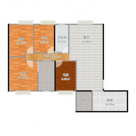 西雅图1室1厅1卫1厨127.00㎡户型图