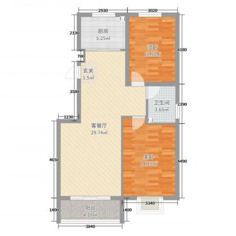 金城私邸2室2厅1卫1厨95.00㎡户型图