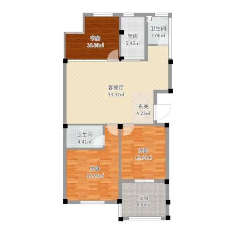 翡翠苑3室2厅2卫1厨118.00㎡户型图