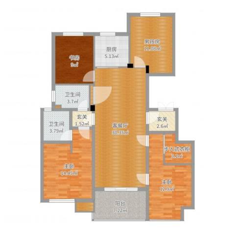 江南景苑3室2厅2卫1厨132.00㎡户型图