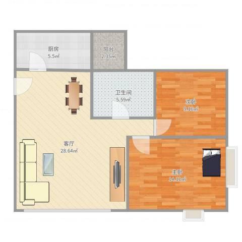 顺德碧桂园西苑2室1厅1卫1厨82.00㎡户型图