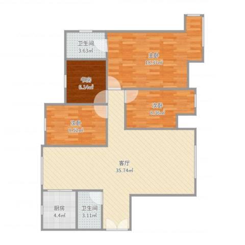 东湖湾c1-2-东户4室1厅2卫1厨110.00㎡户型图