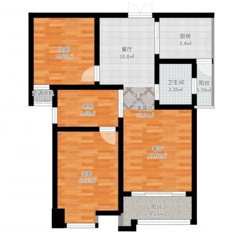 鼎盛国际3室2厅1卫1厨87.00㎡户型图