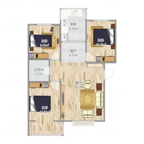 温馨家园3室1厅1卫1厨80.00㎡户型图