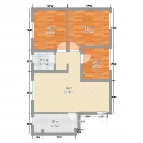 蓝光星华・海悦城3室1厅1卫1厨75.00㎡户型图