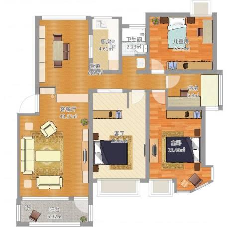 今日家园3室3厅1卫1厨132.00㎡户型图