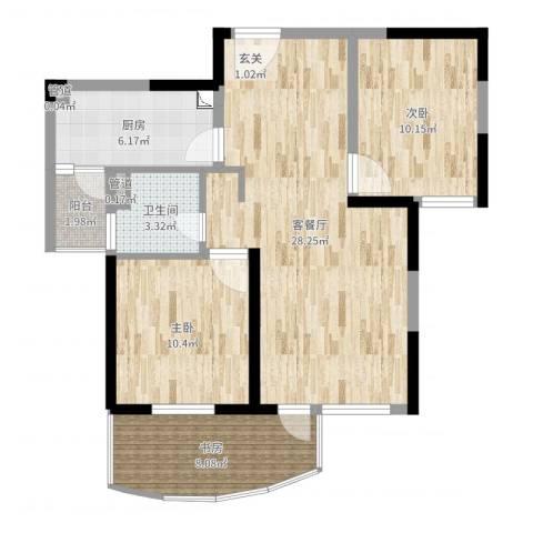 东辉铂领3室2厅1卫1厨86.00㎡户型图