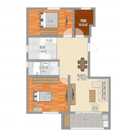 书香名府3室2厅1卫1厨108.00㎡户型图