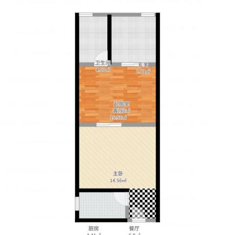 未来石1室1厅1卫1厨61.00㎡户型图