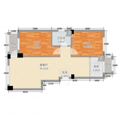金澜名邸2室2厅1卫1厨89.00㎡户型图