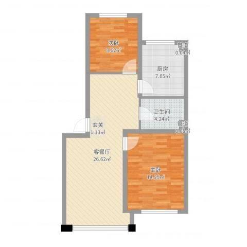 千禧名仕2室2厅1卫1厨76.00㎡户型图