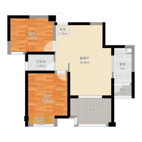 国联乐园2室2厅1卫1厨88.00㎡户型图