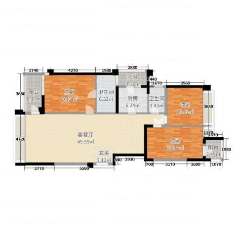 御翠天�o3室2厅2卫1厨150.00㎡户型图
