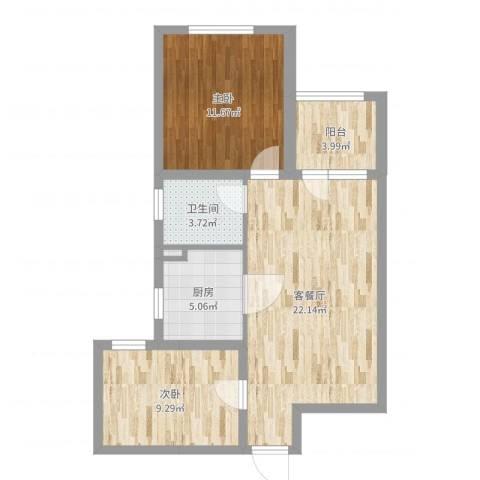 三盛颐景园2室2厅1卫1厨70.00㎡户型图