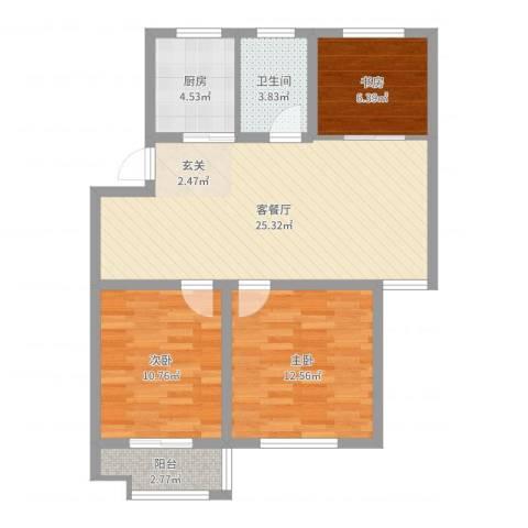 万厦・四季华廷3室2厅1卫1厨83.00㎡户型图