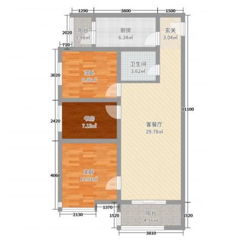 嘉禾广运3室2厅1卫1厨102.00㎡户型图