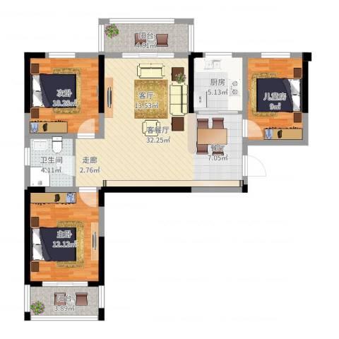 隆昊昊天园3室2厅1卫1厨102.00㎡户型图