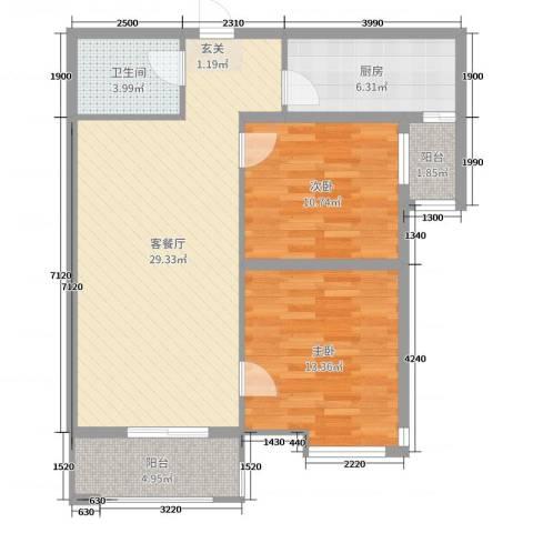 嘉禾广运2室2厅1卫1厨93.00㎡户型图