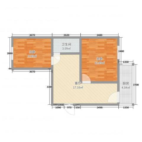 义和庄北里小区2室1厅1卫1厨58.00㎡户型图