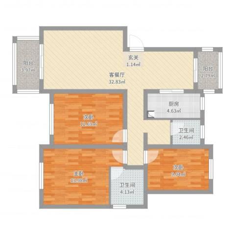 鼎盛花园3室2厅2卫1厨108.00㎡户型图