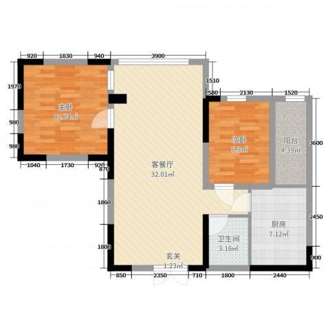 泰和佳园2室2厅1卫1厨80.00㎡户型图
