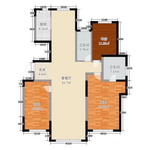 青云天下3室2厅2卫1厨160.00㎡户型图