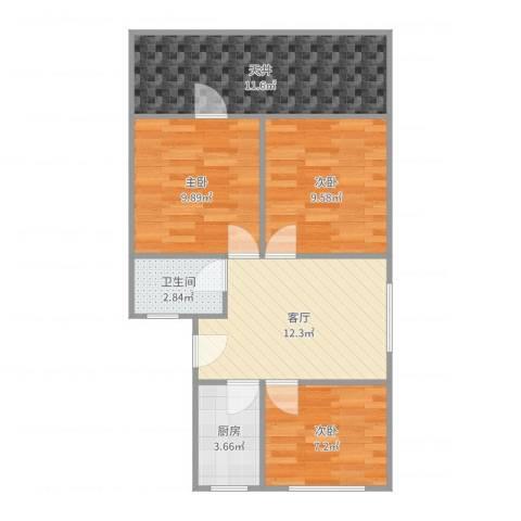 牡丹公寓3室1厅1卫1厨71.00㎡户型图