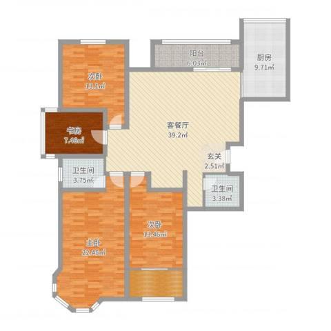 英伦名嘉4室2厅2卫1厨154.00㎡户型图