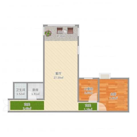 万和苑2室1厅1卫1厨50.00㎡户型图