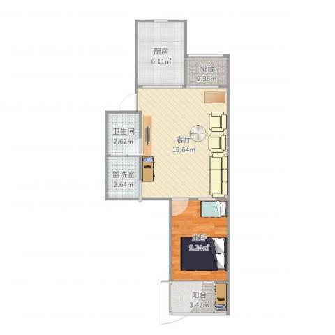 北苑家园绣菊园1室3厅1卫1厨58.00㎡户型图