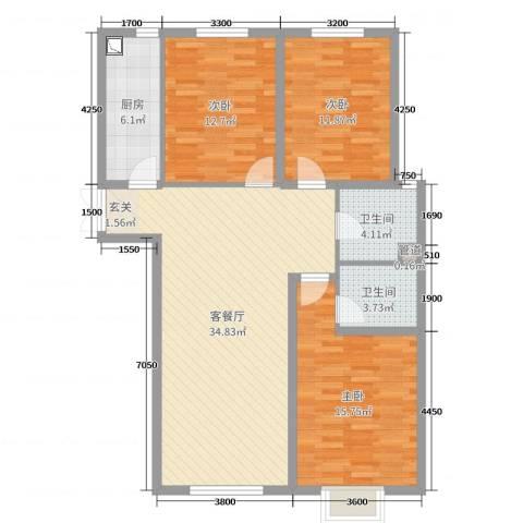 湖畔兰亭・荣域3室2厅2卫1厨135.00㎡户型图