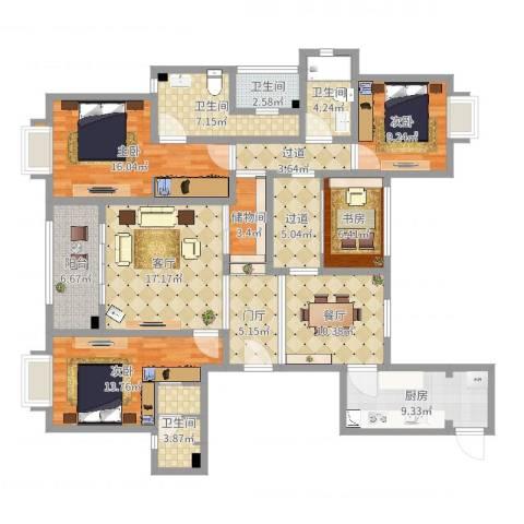 天成家园163平4室2厅4卫1厨158.00㎡户型图