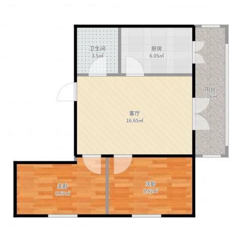 和苑2室1厅1卫1厨63.00㎡户型图