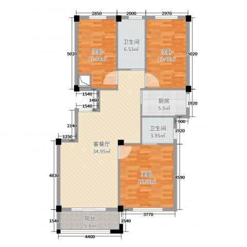 姚江公馆3室2厅2卫1厨124.00㎡户型图